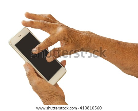 Close up of old woman hand with smart phone isolated on white background