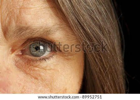 Close up of old womans eye - stock photo