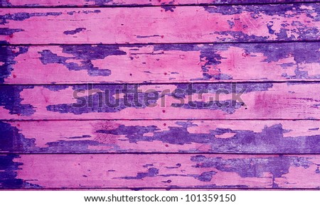 close up of old wood with peeling paint - stock photo