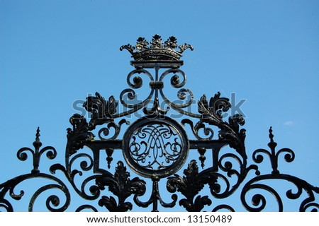 close-up of old wrought iron gate