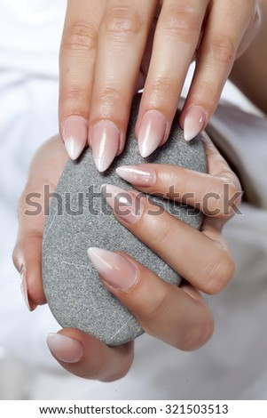 close up of ombre manicure