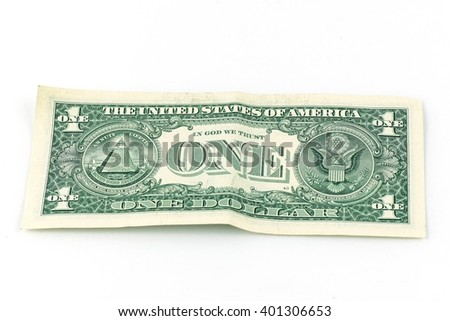 Close up of one dollar isolate on white background.