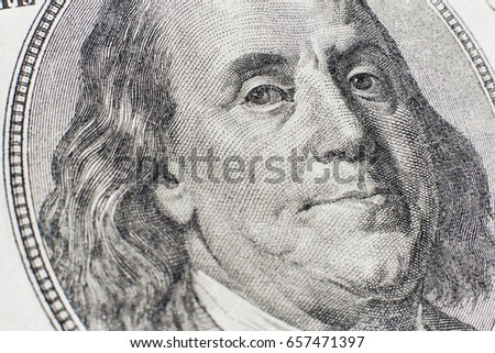 Close up of one hundred dollars note portrait