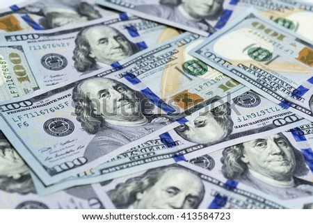 Close-up of One-hundred US Dollar bill as wealthy concept