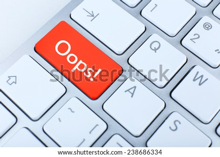 Close up of Oops keyboard button - stock photo