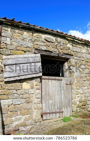 Close Open Barn Door Within Stone Stock Photo Edit Now 786523786
