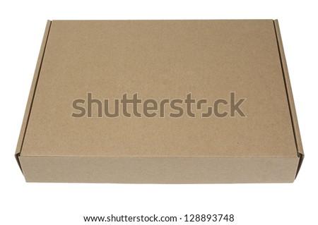 close up of open carton box on white background - stock photo