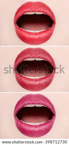 Close-up of open mouth woman with beautiful red lips. - stock photo