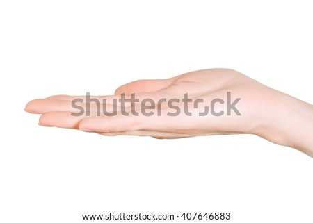 Close up of open woman hand holding something empty on white background with clipping path