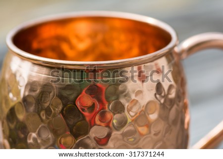 Close up of opening of copper mug - stock photo