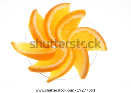 Close-up of orange slices in a martini glass