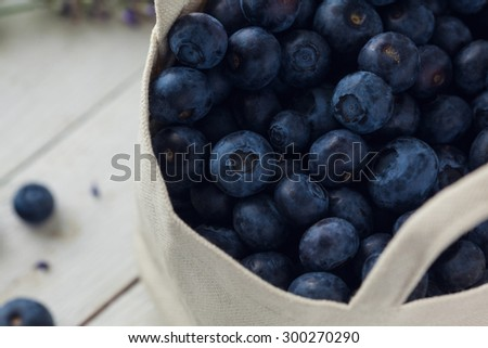 Close Up Of Organic Blueberries In Cloth Bag. Concept For Healthy Eating And Nutrition