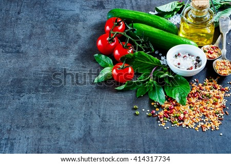 Close up of organic colorful vegetables with mix of red bean, lentil, green peas and chickpeas, selective focus, copy space. Healthy Eating, Diet, Vegetarian or Cooking concept - stock photo