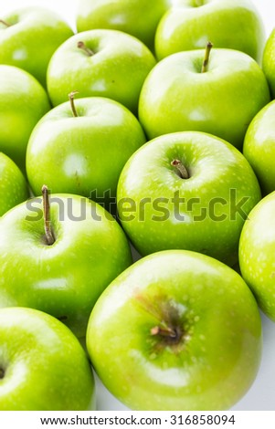 Close up of organic Granny Smith apples.