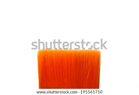 Close up of Paint Brush Orange Hair Art Concept Isolated on white background. - stock photo