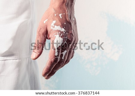 Close up Of Paint Dirty Workman Hand  - stock photo