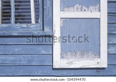 Close-up of paint peeled windows, WI - stock photo