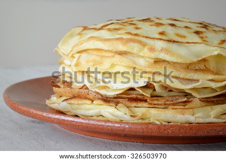 close up of pancakes in a plate
