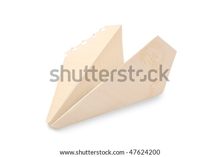 close up of paper airplane on white background with clipping path - stock photo