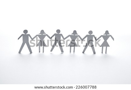 close up of  paper people couple on white background