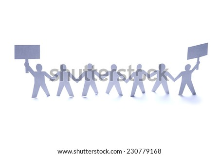 close up of  paper people rally on white background
