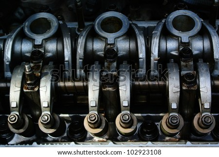 Close up of parts in engine head - stock photo