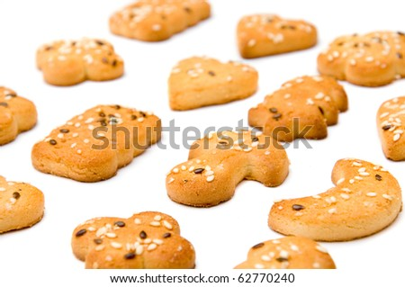 close up of pastries over white