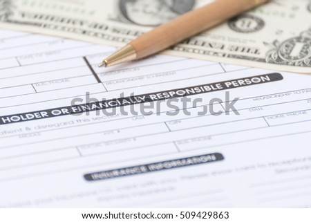 Close-up of patient information PAYMENT concept,Stetoscope and medicine,pen and money on patient form on the desk.