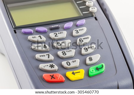 Close-up of payment machine , credit card machine isolated on white background