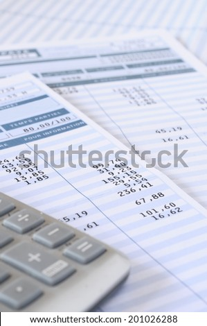 Close up of payroll summary detail with figures and euro - stock photo