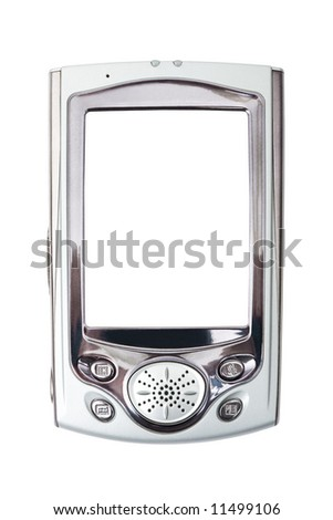 Close-up of PDA, isolated on white background - stock photo