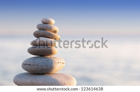 Close-up of pebbles stack - stock photo