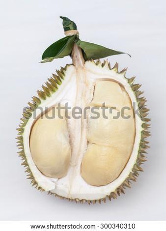 Close up of peeled durian on white background. - stock photo