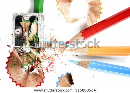 Close-up of pencils and sharpener. - stock photo