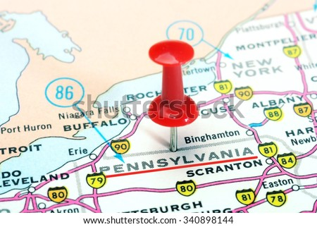 Close up of Pennsylvania   state USA map with red pin - Travel concept - stock photo