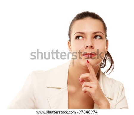 Close-up of pensive girl isolated - stock photo
