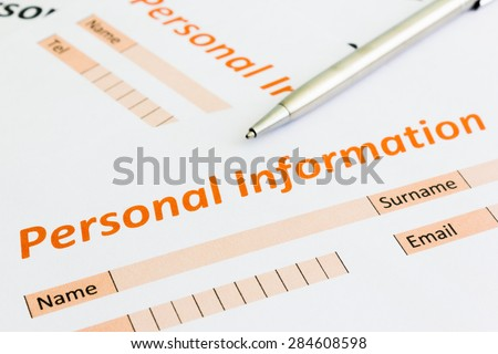 close up of personal information form - stock photo