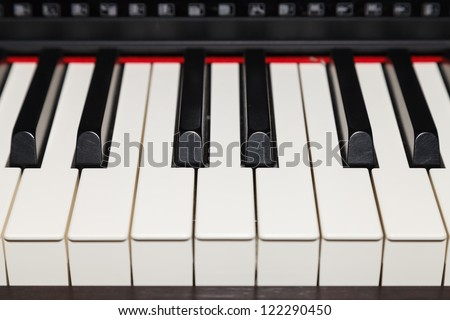 Close up of piano key, front view - stock photo