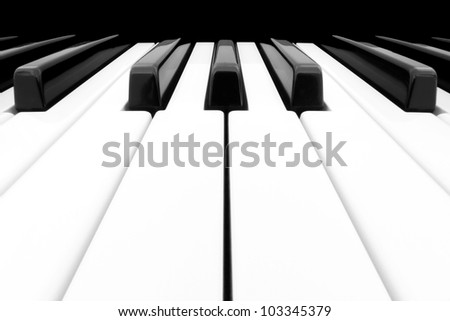 Close-up of Piano Keyboard centred on Ab with plenty of white space