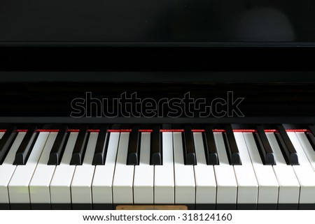 Close up of piano keyboard forming background - stock photo