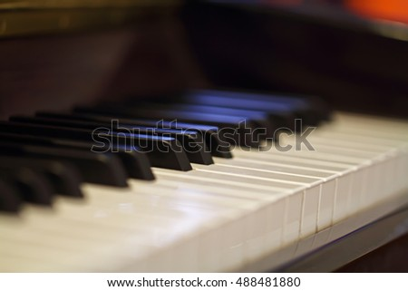 close-up of piano keys. close frontal view.