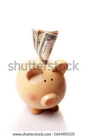 close up of piggy bank and money put into it