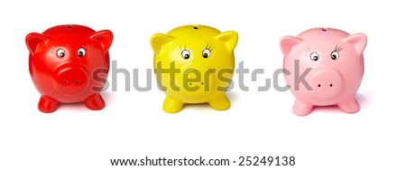 close up of piggy bank on white background . each one is in the full camera resolution - stock photo