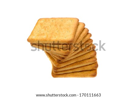 Close-up of pile of cookies isolated on white