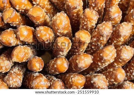 Close Up of Pile of Rod Pretzels for your Copy - stock photo