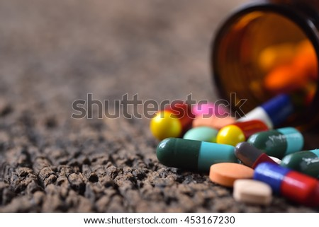 Close-Up of pills and capsules - stock photo