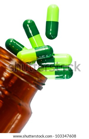Close up of pills isolated on a white background - stock photo