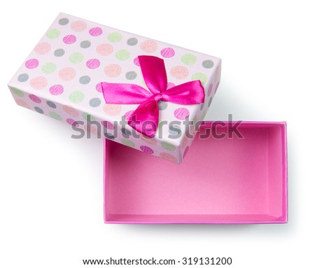 Close up of pink gift box on white background