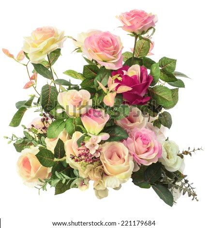 close up of pink roses flowers bouquet isolated white background - stock photo
