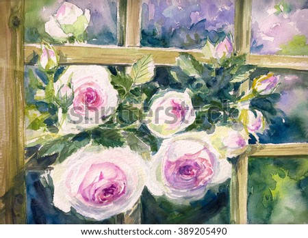 Close up of pink roses on trellis. Picture created with watercolor. - stock photo